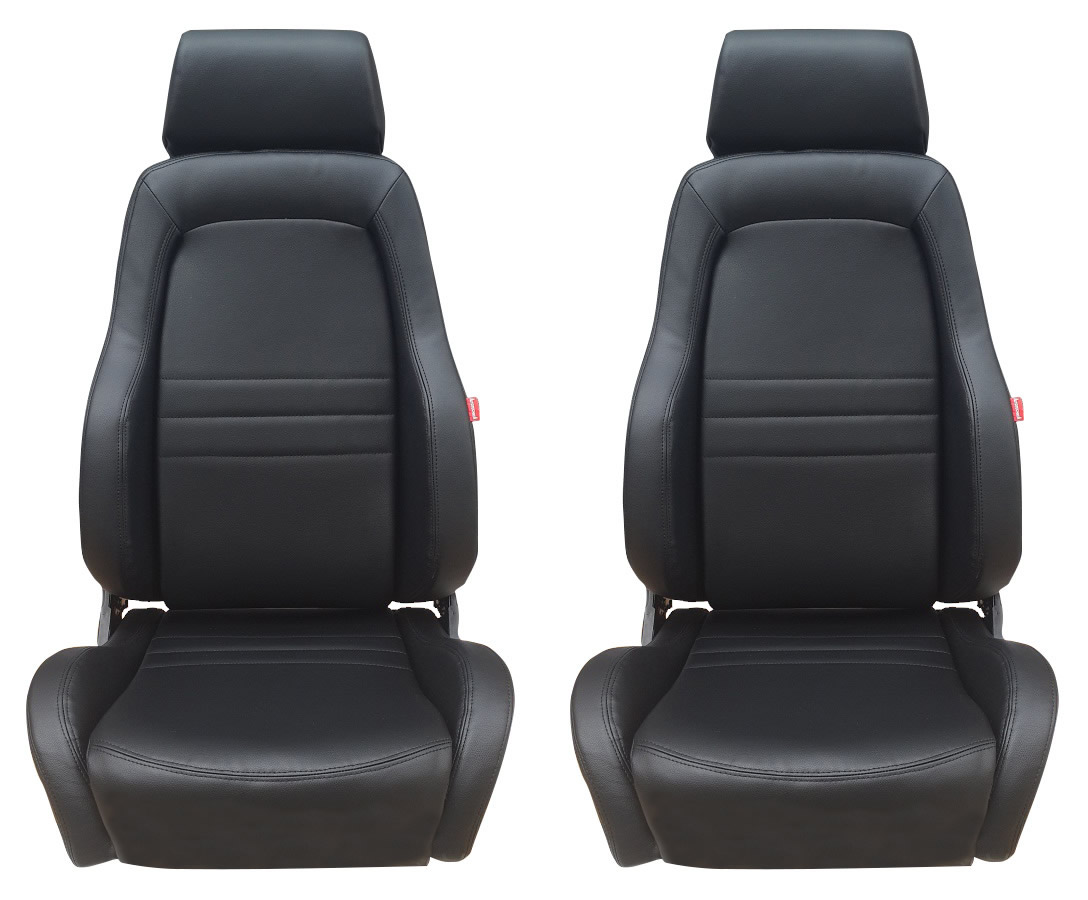 adventurer 4x4 4wd bucket seat pair 2 x black leather adr approved jeep new ebay. Black Bedroom Furniture Sets. Home Design Ideas