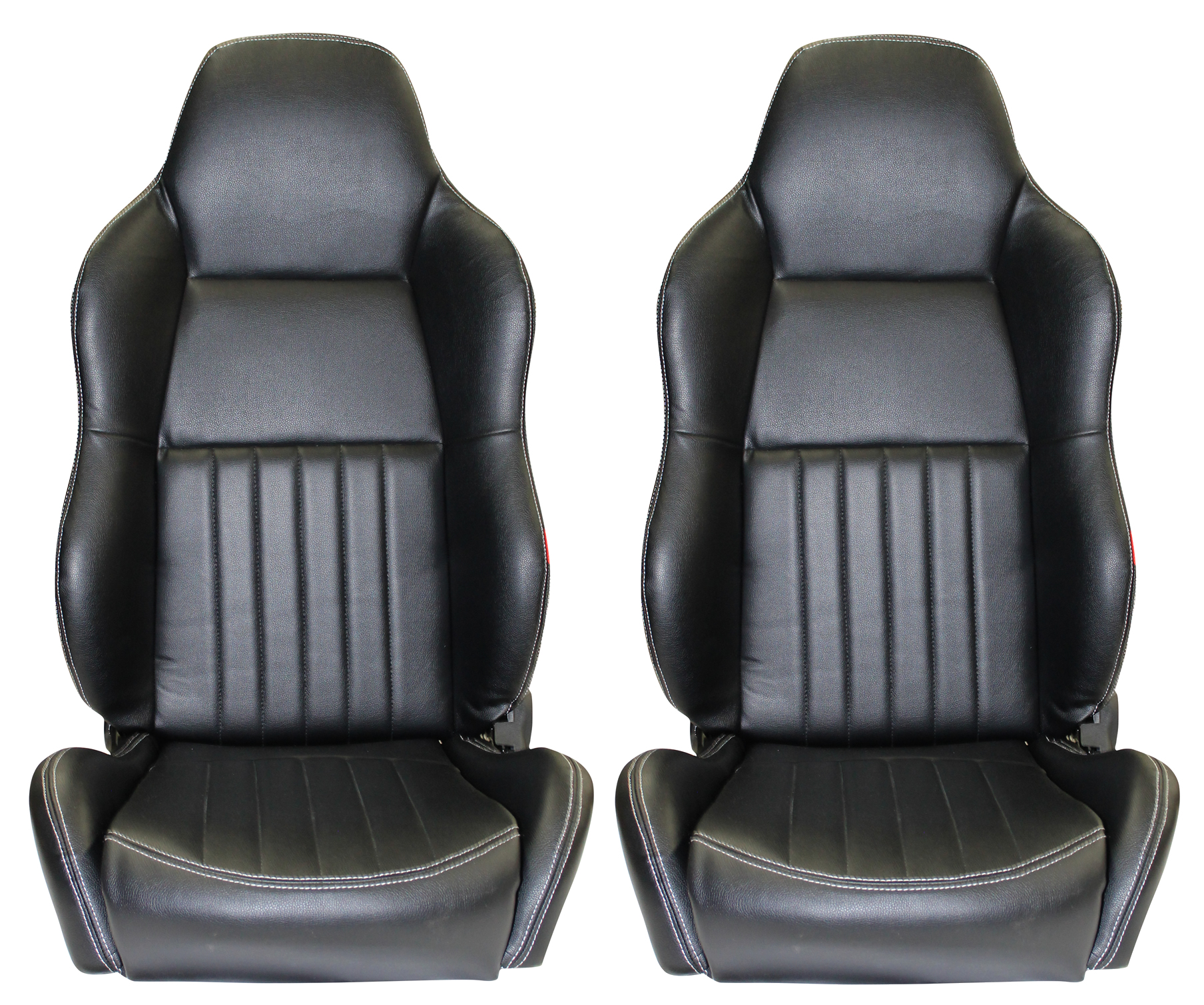Classic High Back Pair 2 X Black Leather Car Bucket Seats