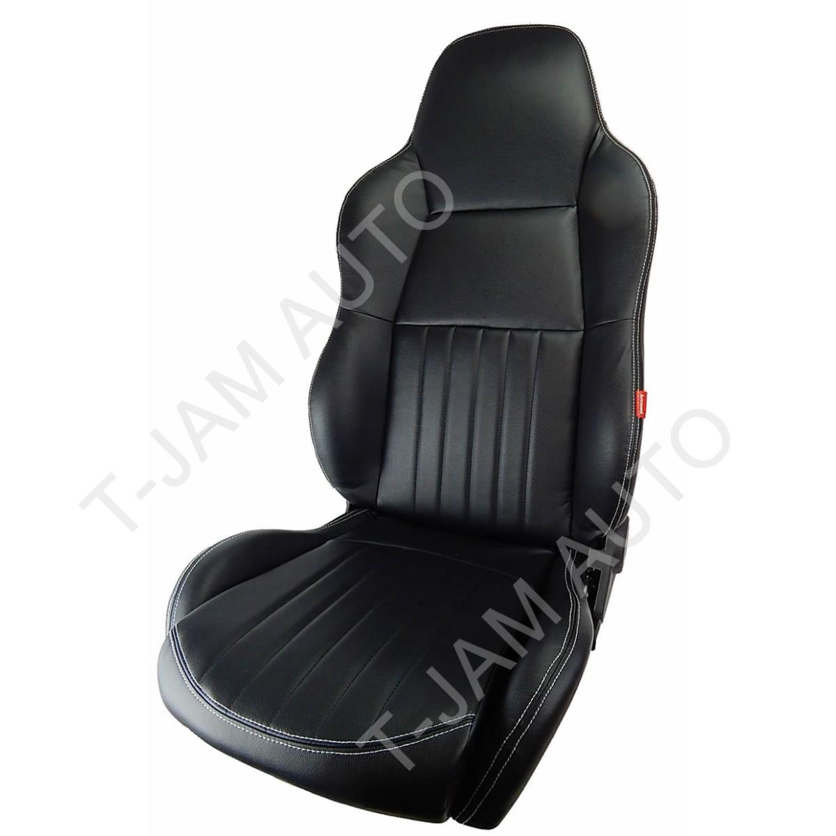 Classic High Back Pair 2 X Black Leather Car Bucket Seats
