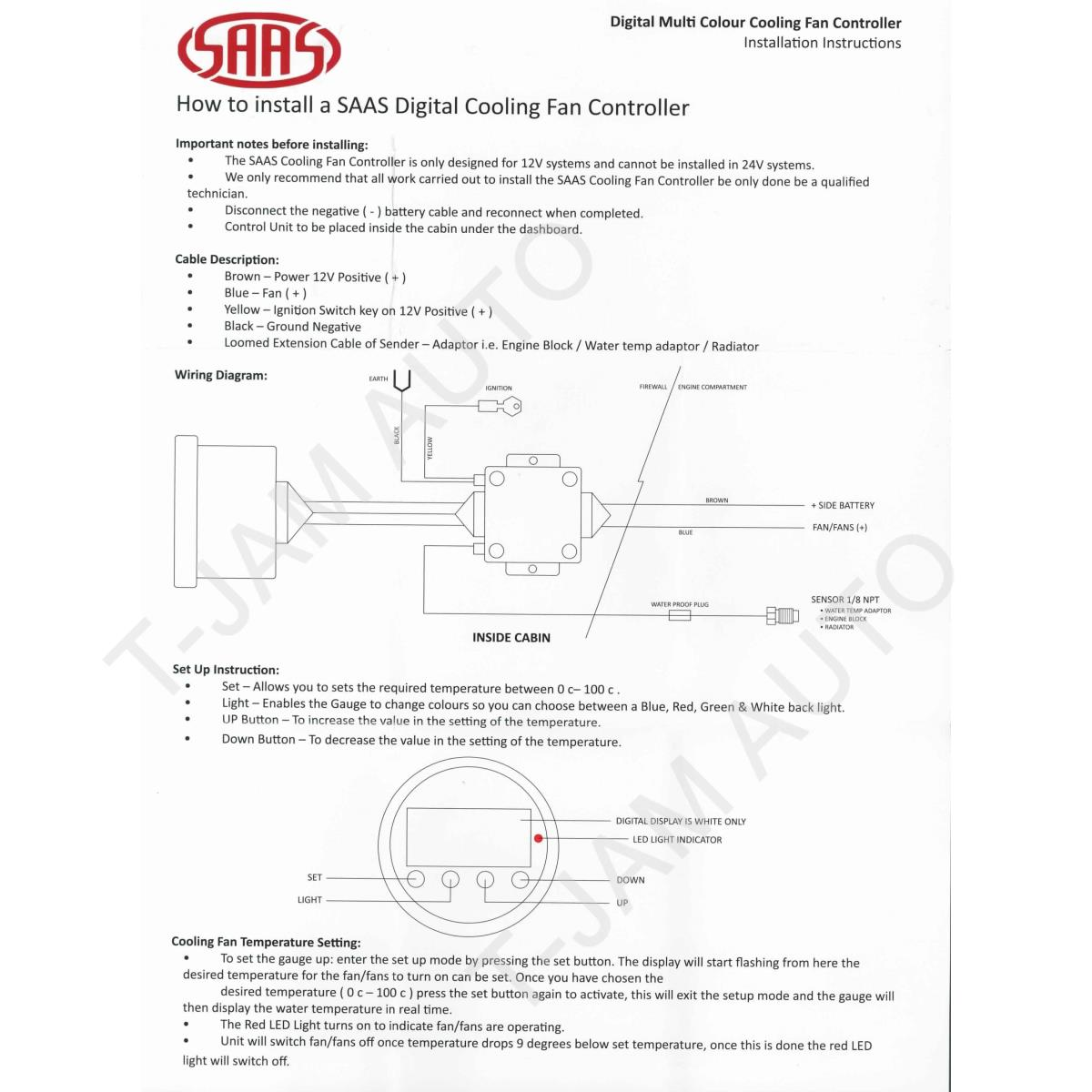 Saas Fan Controller Black Face 52mm New Ebay Wiring Diagram Description Digital